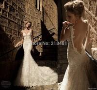 lqs-63 new sexy bling beads appliques sweetheart spaghetti strap mermaid sheer back Elie Saab long train wedding dress 2014