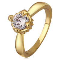 [18K] Classic Crystal Geometric Gold Plating Couple Ring , Good Quality Nickel And Lead Free Gold Plating Fashion Ring