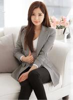 New 2014 Autumn Blazer Women Vintage Plaid Ladies Suit Blazers Long Sleeve Blazer Feminino Fashion