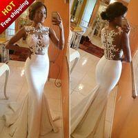 Long Evening Dress 2014 Real Sample Sleeveless Back Sheer Floor-Length White Formal Mermaid Lace Evening Dresses robe de soiree