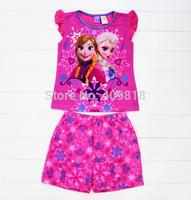 2014 New Arrival Frozen Elsa and Anna Girls pajamas pyjamas pjs 2 pieces set A001