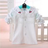 free shipping fashion cotton girl shirt  with turn-down lace collar  for girl princess shirt 27
