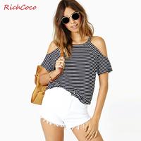 Fashion fresh richcoco o-neck fashion strapless black and white fine stripe loose short-sleeve cotton t-shirt d206