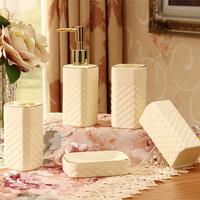 New arrival  Luxury White Ceramic Five-piece Bathroom Set  Bathroom Supplies Kit SW0802