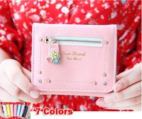 New 2014 Lovely flowers rivet short design woman wallets woman purse messenger bags - Free Shipping W105