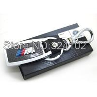 10pcs M Real Carbon fiber Chrome Metal Keyring Key Chain with gift BOX