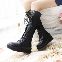 lace up plus size Eur 30-47 winter autumn punk platform shoes Woman women knee high boots wedges motorcycle booties SX140828