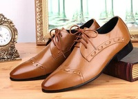 New 2014 high quality Brown/Black Oxford Shoes Men dress shoes leather Formal Wedding Shoes for men