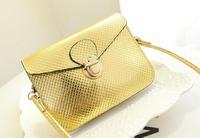 2014 Hot fashion Girl's patent PU leather Small bags Korean MINI metal lock Metallic color small handbags phone bags