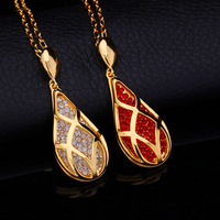 New Hot Fashion Luxurious Elegant Ruby Necklace & Pendant Real 18K Gold Plated Rhinestone Pendant Jewelry Gift For Women P694