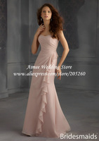 Country Style A Line Sweetheart Blush Pink Bridesmaid Dresses 2014 Long Chiffon MC077 Vestido De Madrinha