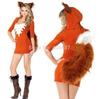 2014 Sexy Fox Ladies Uniforms Costume Cosplay Exotic Apparel Women Clubwear Hooded Mini Dress Big Tail free shipping Hot New