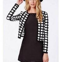 CT713 New Fashion Ladies' Vintage plaid print short jacket coat long sleeve outwear non-button casual slim brand designer tops