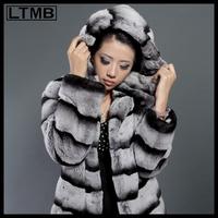 LTMB 4141 Women rex rabbit fur coat turn down collar hooded  full sleeve zebra striped  fashion slim cloth medium length thick