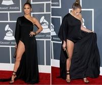 Sexy One Shoulder Side Split Jersey Jennifer Lopez Black Prom Dresses Long Sleeve