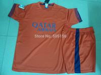 Customize free NEYMAR JR 11 MESSI 10 A.INIESTA 8 XAVI 6 away soccer jerseys football jersey 14-15 NEYMAR JR 11 home set shorts