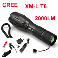cree led flashlight Torch lamp + 2x 18650 Battery charger / car charger / flashlight holster UltraFire E17 CREE XM-L2 LED 2000Lm
