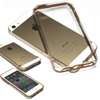 Hot Soft TPU Gold Champagne Frame Protector Transparent Crystal Hard Back Case Cover for iPhone 5 5s XCA0082#S3