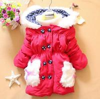 Outwear Coat Hooded Jacket Baby Girls Long Warm Winter Coat Button Style Free Shipping K8016