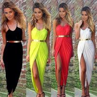 High Split Women Dress Evening Party Elegant Long Dress Sexy Spaghetti Strap Backless Beach Maxi Dress Black White Red Yellow