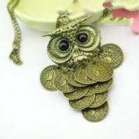 Unique Design Necklace Chain Pendant with Vintage Owl Coins Owl Jewelry