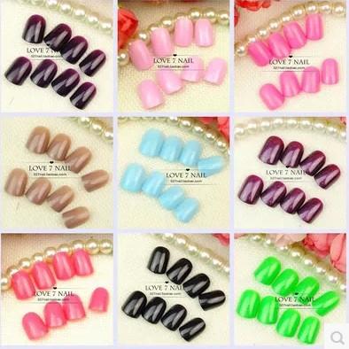 Pure color short size fake nails French false nail Japanese cute nail products Nail art tools Hand makeup(China (Mainland))