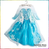 Sunshine Baby #7A5575 5 pcs/lot Frozen Dresses Girls Party Wear Snow Pattern Princess Vestidos Children Clothing Christmas Gift