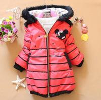 Baby Girls Winter Long Outwear Coat Zipper Style Hooded Coat Fur Decor Girls Jacket Free Shipping K8015