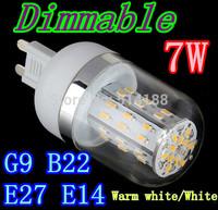 HOT 48led SMD 3014 E27 E14 G9 7W Dimmable led corn bulb lamps AC 85V-265V led lighting led corn lighting free shipping