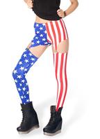 hot sale! new fashion women American Flag Print Garter Suspender Leggings