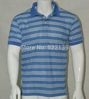 2014 Men Short Sleeve Turn Down Collar Striped T Shirts Custom Blank Fashion Top Tees