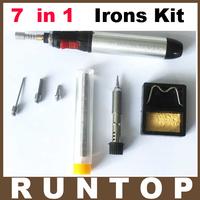 Free Shipping 7 in 1 Butane Gas Pen Shaped Soldering Irons Cordless Welding Torch Kit Ht-1934K