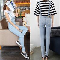 2014 free shipping light color denim bib pants jumpsuit denim spaghetti strap trousers  1405
