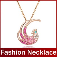2014 New Fashion Women Long Link Chain Party Necklaces Austrian Crystal Phoenix Pendants Platinum Plated Casual Necklace Jewelry