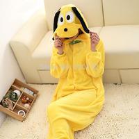 2014 Free Shipping Animal Cartoon Pajamas Anime Yellow Dog Cosplay Costume Winter Costumes Women Christmas Pajamas Sleepwear