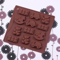 10pcs/lot Trojan trolley chocolate silicone mold,Fondant Cake Decorating Tools,Silicone Soap Mold,Silicone Cake Mold CM0067