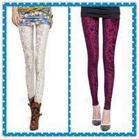 2014 new fashion Womens white and red Stylish Hue White Crushed Velvet Leggings Pencil Pants
