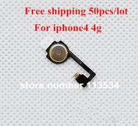 50pcs/lot Wholesales For iPhone 4G Original Home Button Flex Cable High Quality & Best Price+Free shipping