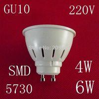 10pcs/lot 220V GU10 LED lamps 4W 6W 5730SMD led lights cold white/warm white led bulb