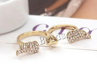 Free shipping!!!Zinc Alloy Double Finger Ring,Vintage, gold color plated, open & with rhinestone, nickel, lead & cadmium free