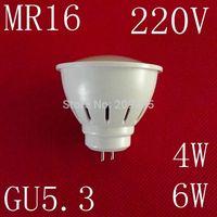 10pcs/lot 220V MR16 GU5.3 LED lamps 4W 6W 5730SMD led lights cold white/warm white led bulb