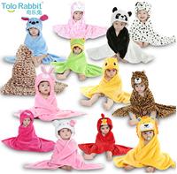 2014 hot sale girl/boy cartoon Pajamas Animal shape Bathrobes kids soft Coral velvet Bath towel baby blanket free shipping