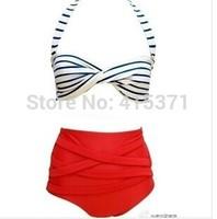 New Arrival Vintage Style Women's Halterneck High-Waist Striped Bikini Set In Summer Hot Sale Sexy Retro Style Striped Swimwear