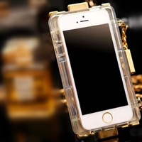 For iPhone4 5 Luxury Gold Lego Block Plating Perfume Cases Covers For iPhone 4 4S 5 5S Lanyard Chain TPU Handbag Case 1pcs/lot