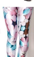 YWNN  Girl's Sexy Hot AURORA SKYE HEX COLOUR Lovely pills 3d print Legging Women Elastic Pants