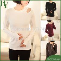 E006 Women Clothing 2014 Fashion Off The Shoulder Long Sleeve T-Shirt Women