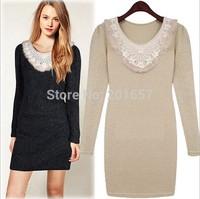 2014 Autumn Women Dress cute Plus Size Fashion lace neck sheath Dresses Girls Vestido De Festa flower printed Dress XXL Vestidos