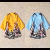 2014 Autumn Winter Women's Trench Coat Peach Blossom Print Jacquard Vintage Cotton Long Coat Outerwear Yellow Blue