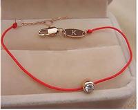 Fashion Rose Gold  Zircon Red Rope Bracelet Free Shipping