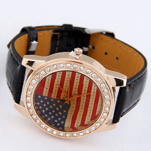 Hot Sale New design European and American fashion flag leather watches free shipping High Quality